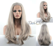 Women Hot Lace Front Wig Ash Blonde Long Straight Hair Heat Resistant Full Wigs