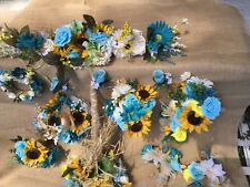 Silk Flower Wedding Bridal Bouquet Package Flowers turquoise sunflowers