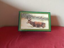 Enesco Lacquer Painted Wooden Jewelry Music Box song Evergreen with Deer in Snow