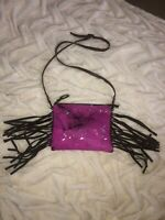 American Darling Pink & Silver Cowhide with Brown Fringe Crossbody. EUC!