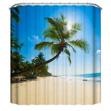 Ocean Coconut tree Bathroom Decor Waterproof Fabric Shower Curtain Curtains ##