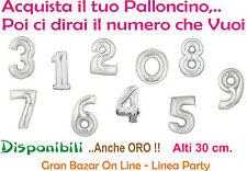 PALLONCINO NUMERO Mylar Foil da 30 cm ARGENTO Componi il tuo numero PARTY FESTA