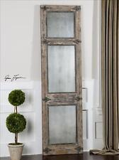 "LARGE 78"" AGED BLUE AGED FLOOR WALL MIRROR IVORY BLACK ACCENTS OLD DOOR SHUTTER"