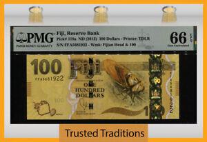 TT PK 119a ND (2013) FIJI 100 DOLLARS QUEEN ELIZABETH PMG 66EPQ GEM UNCIRCULATED