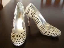 Report Signature Keely Size 6 Women's White and Black Studded Leather Pumps