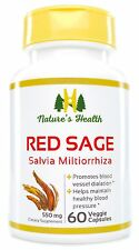 Red Sage (Salvia Miltiorrhiza), Heart Health Support, 500 Mg, 60 Veggie Capsules
