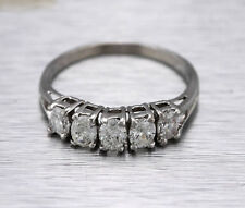 Lovely Ladies 14K White Gold Over 1.50ct Oval Diamond Wedding Vintage Band Ring