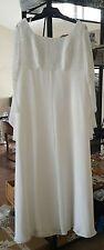 Vintage Demetrios Beaded Bridal Wedding Gown White Dress Size 22 Chiffon Train