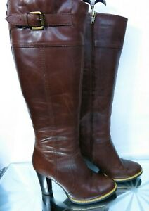 Autograph Brown Knee High Leather High heel Winter Boots UK 5, EU 38