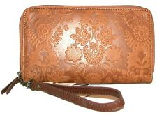 THE SAK Brown Floral Embossed Leather  Zip-Around Smartphone Wallet Wristlet NWT