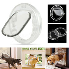 4 Way Round Clear Locking Flap Pet Door Cat Small Dog for Screen Glass