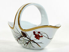 """St. Nicholas Square HOLIDAY LAUREL 7.75"""" Handled Bowl Holly Berry Pine Cone Gold"""