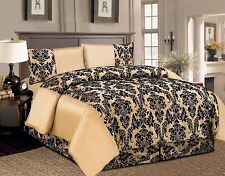 4PC Damask Flock Complete Bedding Set Duvet Cover Bed sheet Double and King