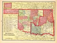 1901 Antique INDIAN TERRITORY Map Vintage Map of Oklahoma George Cram Map 8033