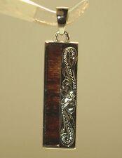 8mm Hawaiian Solid 925 Silver Genuine Inlaid Koa Wood Scrolls Vertical Pendant
