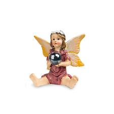 Sitting Fairy with Gazing Ball, Fairy in Red Dress, Garden Fairy, Birthday Gift