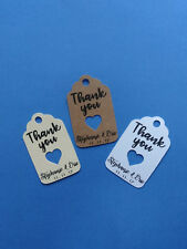 20 personalized Wedding or baby or bridal shower favor tags Thank you w/ heart