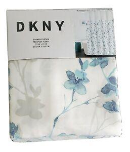 Dkny Prospect Floral White Aqua Blue Gray Shower Curtain 72x72