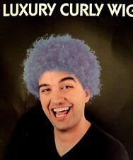 Luxury Blue Afro Wig 70'S Retro Disco Diva Starsky & Hutch Pimp Fancy Dress UK
