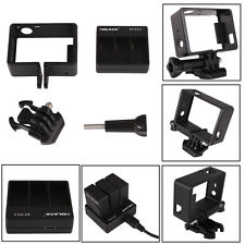 Standard Frame Cover Mount + Dual 3 Battery USB Charger For Gopro HD Hero 3 3+