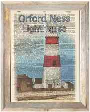 Orford Ness Lighthouse Suffolk Uk Altered Art Print Upcycled Vintage Dictionary