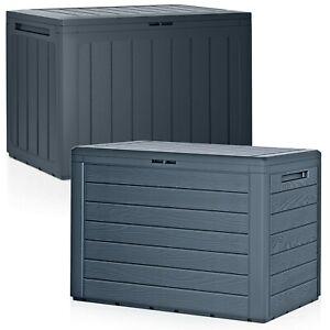 Anthracite 190L Wood Design Outdoor Storage Box Garden Patio Plastic Chest Lid