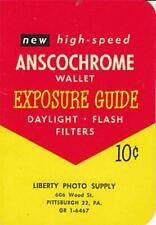 Vintage Anscochrome Film Exposure Guide