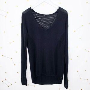 Lululemon Sweater Size 10 Black Still Movement Open Knit Cotton Pullover V Neck