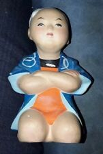 Hakata Mimasu Hand Painted Clay Kneeling Boy Doll Vintage Japan Very Good