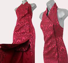 KAREN MILLEN Vintage Blood Red Jacquard Halterneck Oriental Style Maxi Dress 10