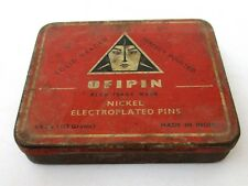 Antique Old Indian Ofipin Nickel Electroplated Pins Ad Sign Tin Box