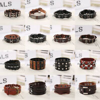 Unisex's Bracelet Leather Infinity Charm Cuff Bangle Wristband Multilayer Wrap