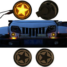 2x Five Star Smoke Lens LED Turn Signal Lights 4 Jeep Wrangler JK Unlimited 07+