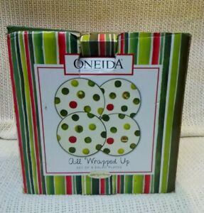 """NEW! Set of 4 Oneida All Wrapped Up Hand Painted Earthenware Salad Plates 8 1/2"""""""