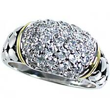 BRILLIANT PAVE' CLEAR CZ 2-TONE DOME RING_SZ-9__925 STERLING SILVER