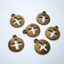 Cross Round Antiqued Bronze  Pendant Charm   - 10pcs.