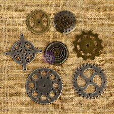 7 Clock Gears Clock Parts Metal Gears Steampunk Assorted Gears Bronze Silv.
