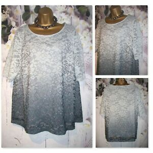 LADIES BONMARCHE OCCASION TOP SIZE 24, Silver Lace Party Occasion Stretch Tunic