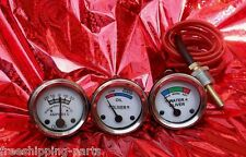 White Face Early Oliver Tractor Temperature  Oil Pressure  Ammeter Gauge Set