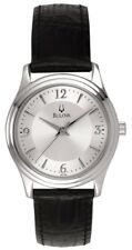 Bulova Men's 96T58 Quartz Silver-Tone Dial Black Leather Strap 30mm Watch