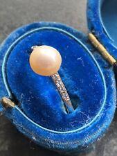 Natural Saltwater Pearl & Diamond Ring