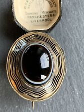 Agate Brooch With Large Locket Back. Victorian 18ct Yellow Gold Large Bonded