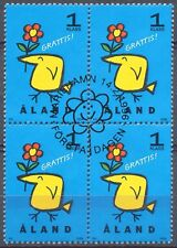 Aland Finland 1996 Used Block of 4 Stamps - Greetings ! - First Day Cancel