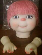 "Vintage 1984 Darice Kids Yarn Hair ""Doll With A Heart"" Head & Hands Rose"