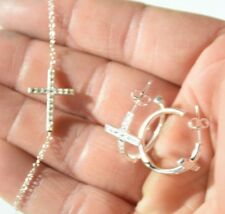Earring Lot New Old Stock 90s Vintage Sterling Silver Set Cross Pendant &