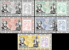 "Set 5 Marianne ""Travel France-USA Boat Frigate HERMIONE - LAFAYETTE"" 2015"