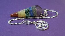 Seven Chakra Pendulum Dowsing Crystal Charged Reiki Healing with Pentacle ,Pagan
