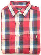 Ralph Lauren hombre azul rojo blanco manga larga cuadros camisa de talla XL