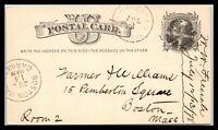 1878 US POSTAL HISTORY Postal Card - Worcester, Massachusetts to Boston, MA B1