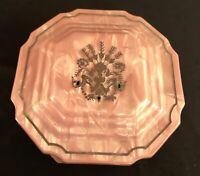 1950-60's Pink Square Women's Vanity Or Dresser Powder Box Vintage